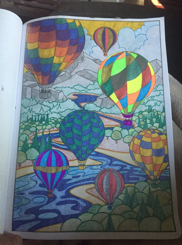 Third coloring. I was on a roll, last week. Graduated to mixing in colored pencils.