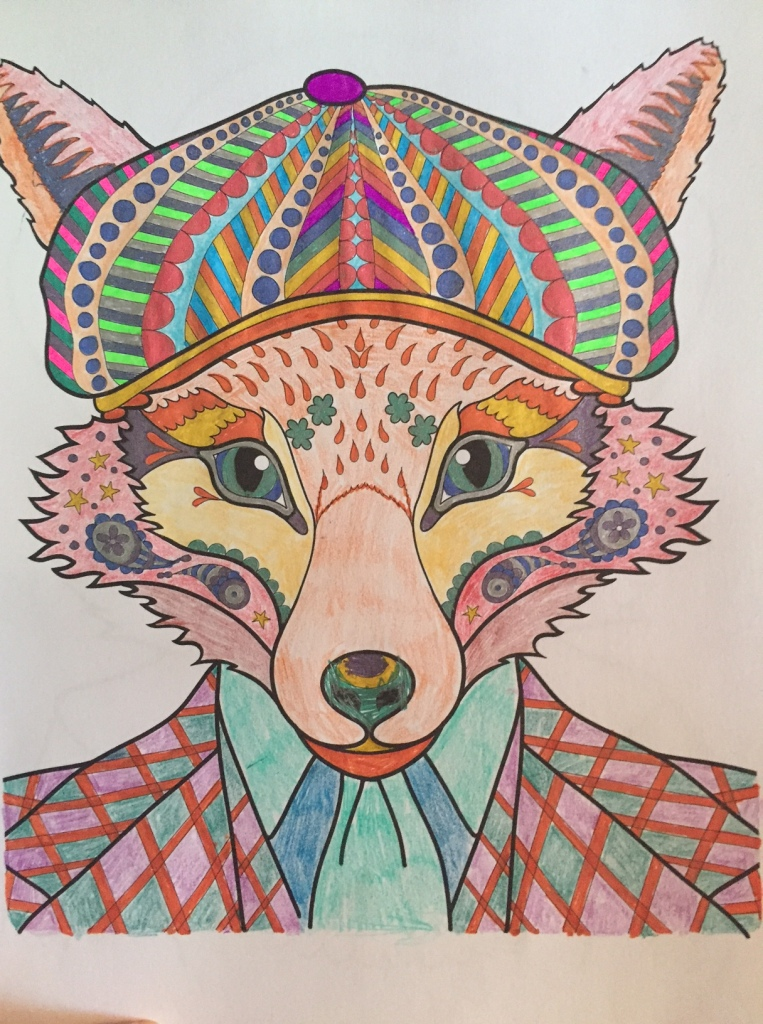 "Just finished this, this morning. Had not done much coloring in the last couple days and Jackson says yesterday, ""Mom - you need to keep coloring!"" So I finished my rendering of the fantastic Mr. Fox."