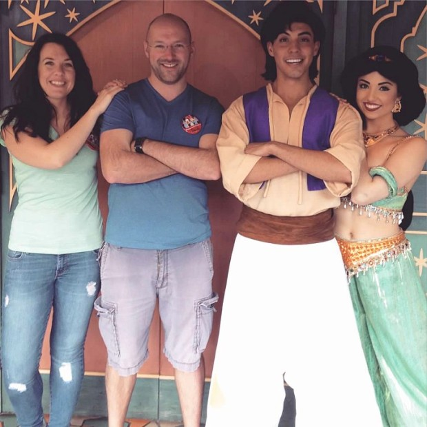 Once upon a time...I made Jake stand in line for forty five minutes so that we could get a picture with Jasmine and Aladdin. The end.